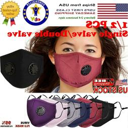 1/2Pack Reusable Mask 1/2 Breathing Valves Face Mask+Activat