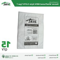 15 Hoover WindTunnel HEPA Style CLOTH Type Y Vacuum Bags - A