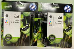2 HP 65 Black & Tri-color 2-Pack Ink Cartridges. Exp. 01/202