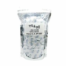 "2 Gram Pack of 100 ""Humipack"" Silica Gel Packets Desiccant D"