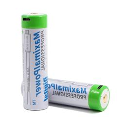 2-Pack 18650 Rechargeable 3.7V 3400mAh Battery with Mirco US