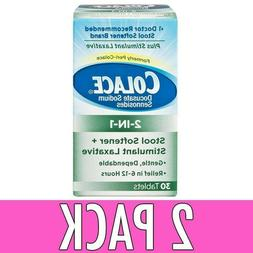2 Pack Colace 2-in-1 Stool Softner + Stimulant Laxative, Tab