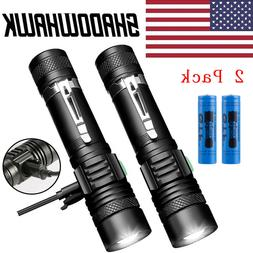 2 PACK 20000lm USB Rechargeable CREE T6 LED Tactical Flashli
