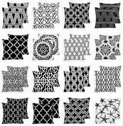 2 Pack Black & White Throw PILLOW COVER Sofa Couch Waist Cus