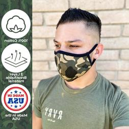 2 PACK Gorilla Mask Co. Face Mask Camouflage 100% Cotton
