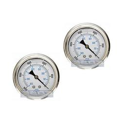 "2 PACK LIQUID FILLED PRESSURE GAUGE 0-5000 PSI, 2.5"" FACE, 1"