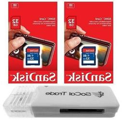 2 PACK - Lot of 2 SanDisk 32GB SD HC Class 4 SDHC Flash Memo
