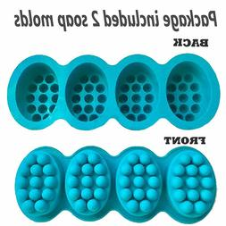 Massage Bar Silicone Molds 4 Cavities 4.5oz Soap Mold Ship
