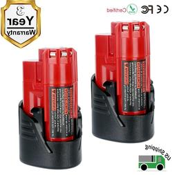 2 Pack New 12V 2.5Ah Lithium-ion Battery for Milwaukee M12 4