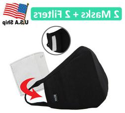 2 Pack of Protective 3D Cotton Face Mask with Filter Pocket