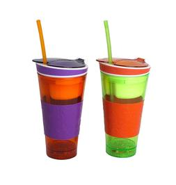 2 PACK Snackeez Plastic 2 in 1 Snack & Drink Cup One Cup Ass