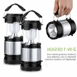 2 Pack Portable Outdoor LED Camping Lantern 2 in 1 Collapsib