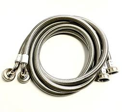 2 Pack Premium Stainless Steel Washing Machine Hoses 5 FT No