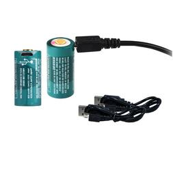 2-Pack: Olight RCR123A Rechargeable Batteries w/ Built-in Mi
