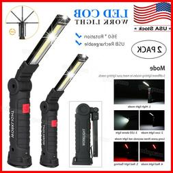 Rechargeable COB LED Slim Work Light Lamp Flashlight Magneti