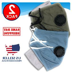 2-Pack Reusable Washable Cotton Cloth Face Mask Filter & Air