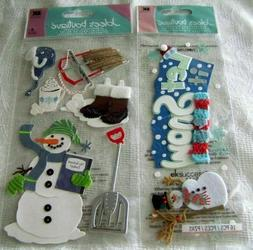 2 PACKS JOLEE'S  1 LET IT SNOW TITLE & 1  WINTER  3-D  STICK