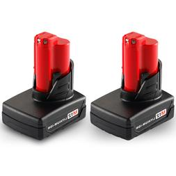 2Pack 12V 3.0Ah Lithium-ion Battery for Milwaukee M12 48-11-
