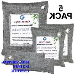 5 Pack Fresh Air Purifying Activated Bamboo Charcoal Bag Odo