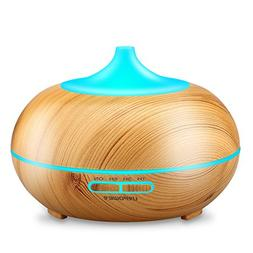 URPOWER Aromatherapy Essential Oil Diffuser 300ml Wood Grai