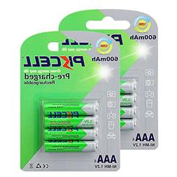 8 Pack AAA 600mAh NiMH 1.2V Pre-Charged Rechargeable Battery
