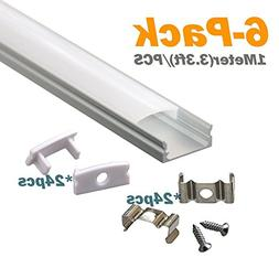 LED Aluminum Channel with Cover - StarlandLed 6-Pack 1Meter/