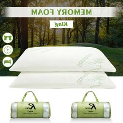 Set of 2 King Size Bamboo Memory Foam Bed Pillow Hypoallerge