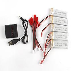 Creazy 5PC 3.7V 850mAh Battery + 5 in 1 Charger For JXD 509G