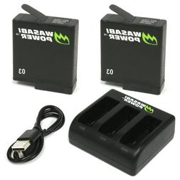 Wasabi Power Battery  & Triple Charger for GoPro HERO5, HERO