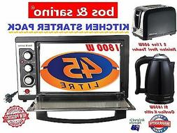 3 Pcs Great Value Appliance Pack 45L Oven, 2 Slice Toaster &