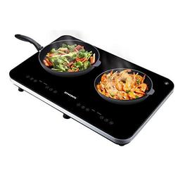 Ovente Ceramic Double Induction Cooktop, Black