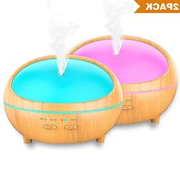 Essential Oil Diffuser, 2 Pack 300ml Wood Grain Aroma Diffus