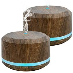 450ml Diffusers for Essential Oils 2 Pack, Wood Grain Aromat