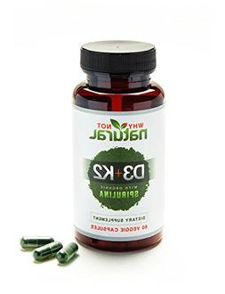 Green Vitamin K2  & D3 10,000 IU Supplement w/US Organic Spi
