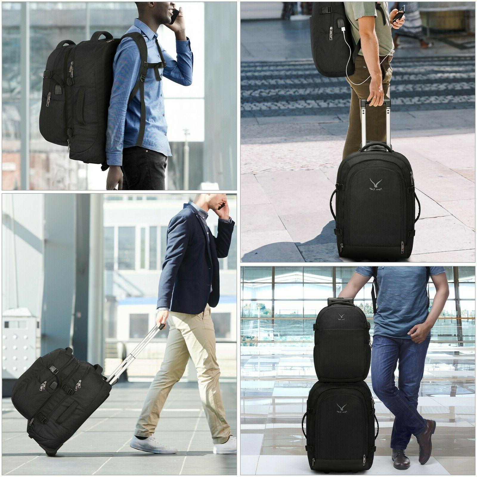 Hynes Eagle in 1 Rolling Backpack Carry on Packing