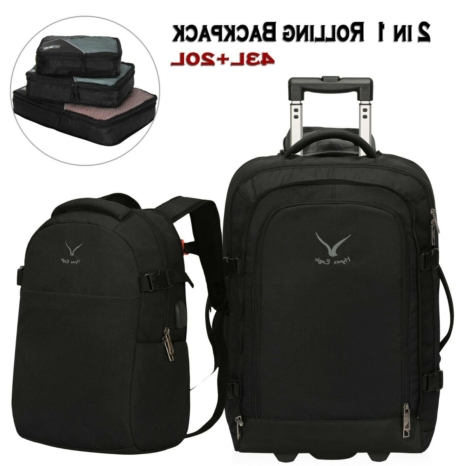 2 in 1 travel rolling backpack carry