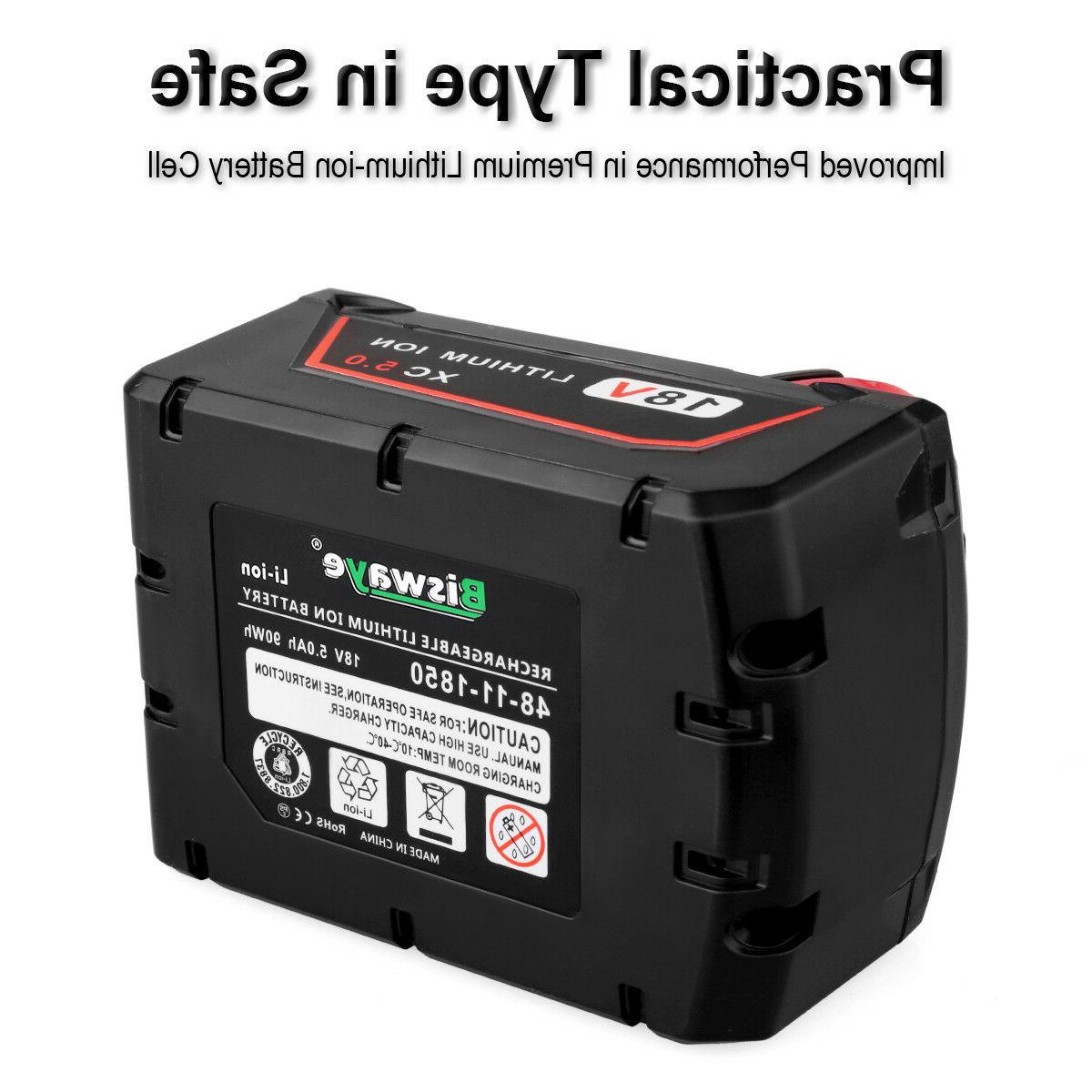 2 Pack 5.0Ah Li-ion Rechargeable Battery for Milwaukee M18B