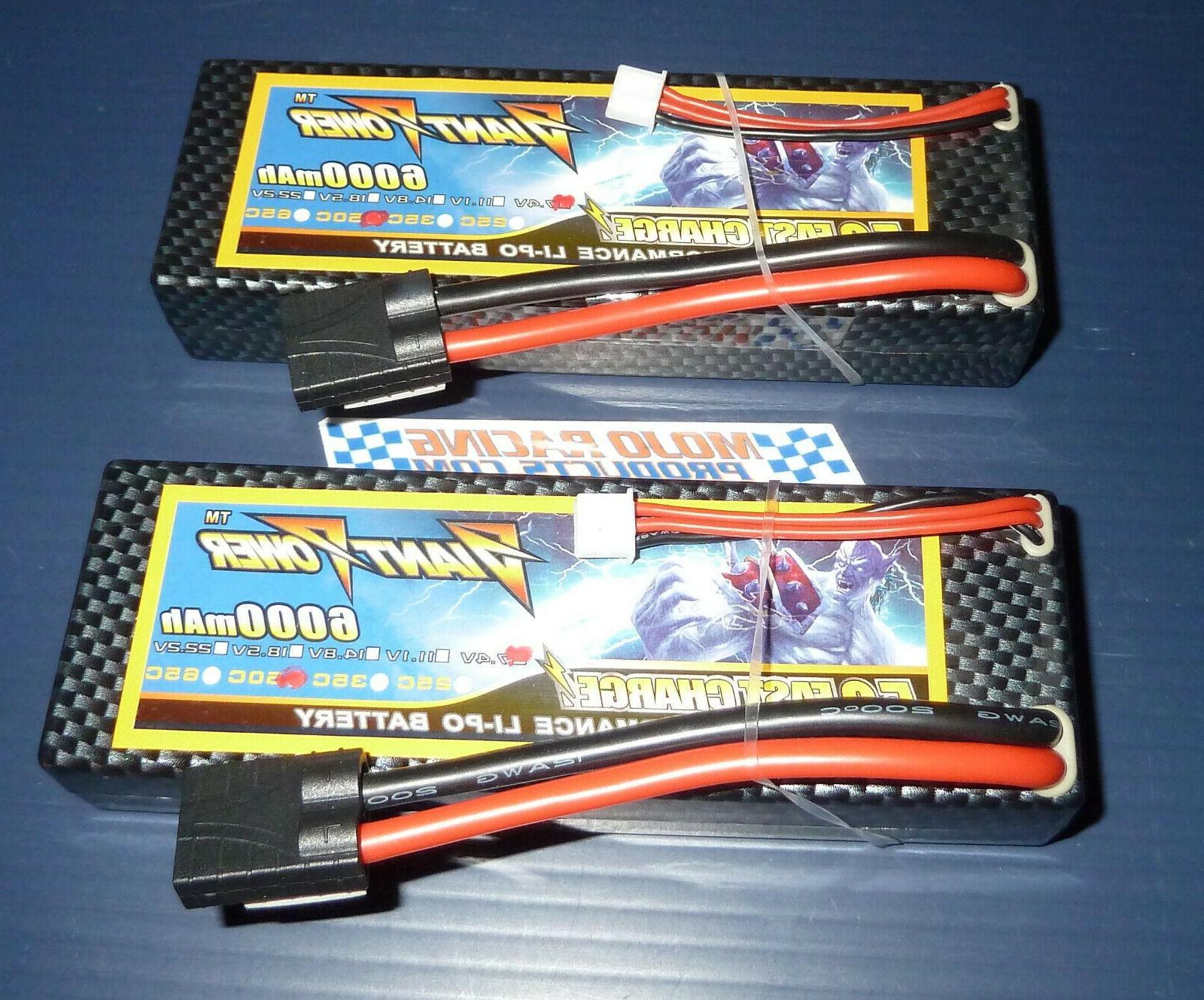 2 Pack 7.4v 50-100C Traxxas 10th Scale Packs Fast!