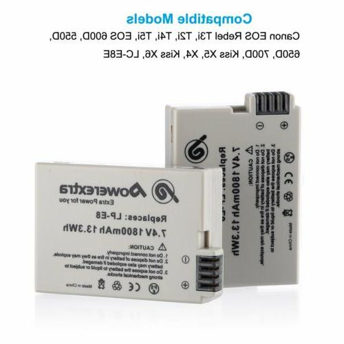 Powerextra 1800mAh Li-ion Canon LP-E8 Battery for Canon