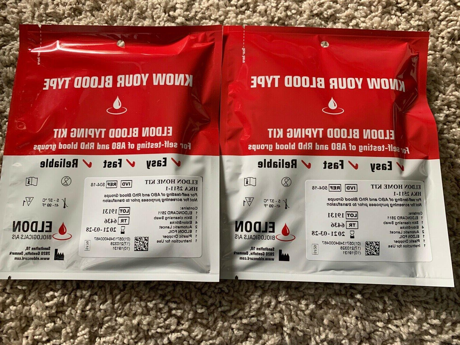 2 pack blood type rh factor card