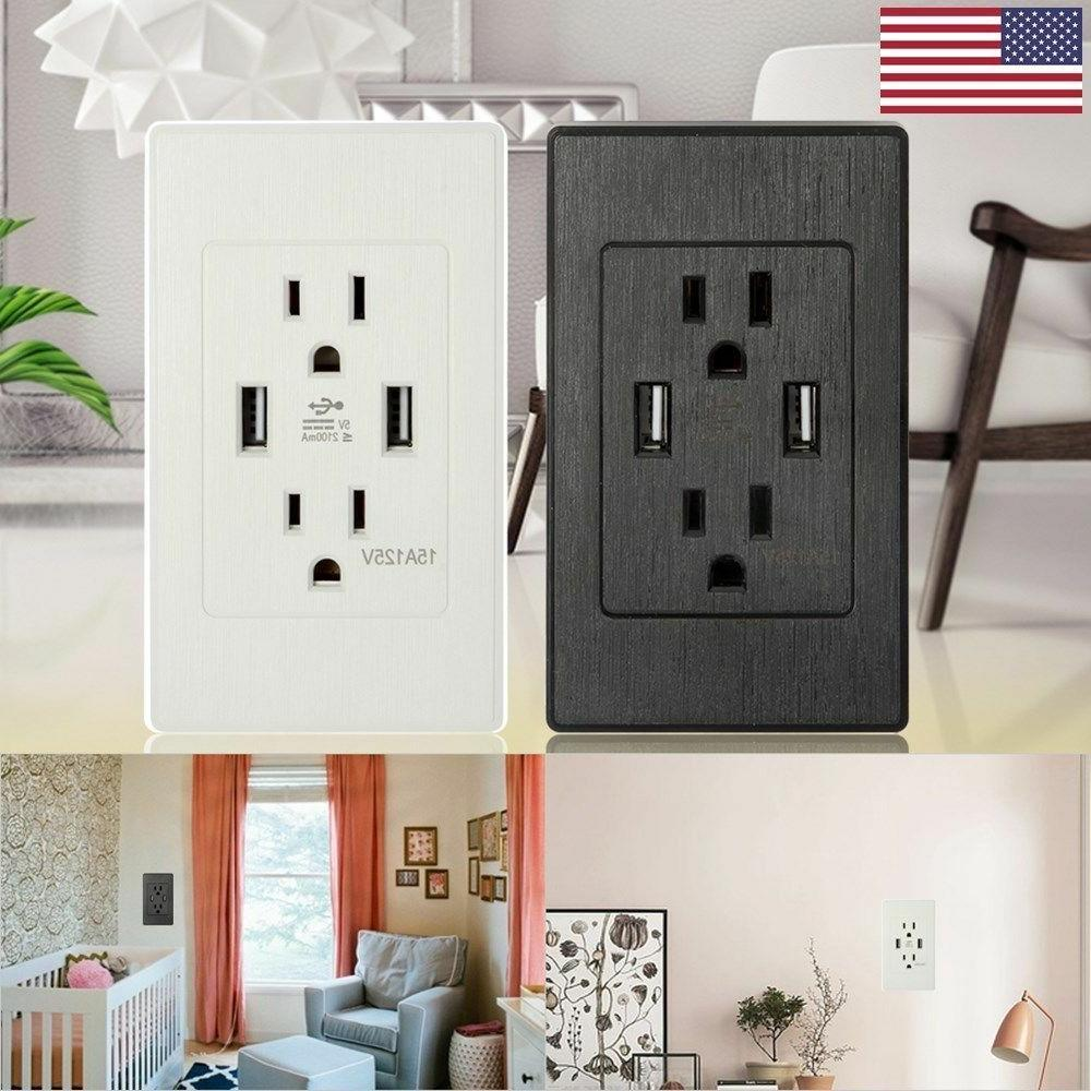 2 pack dual usb wall outlet charger