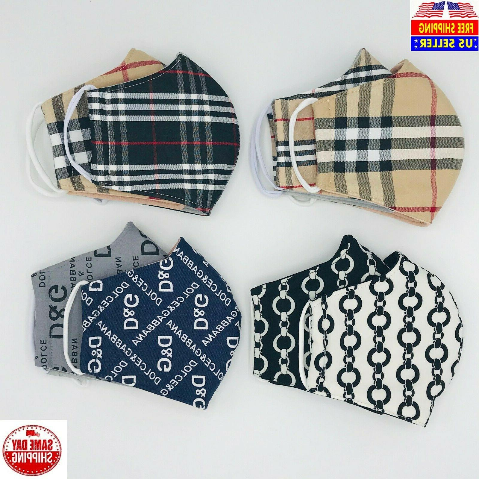2 pack face masks unisex medium tartan