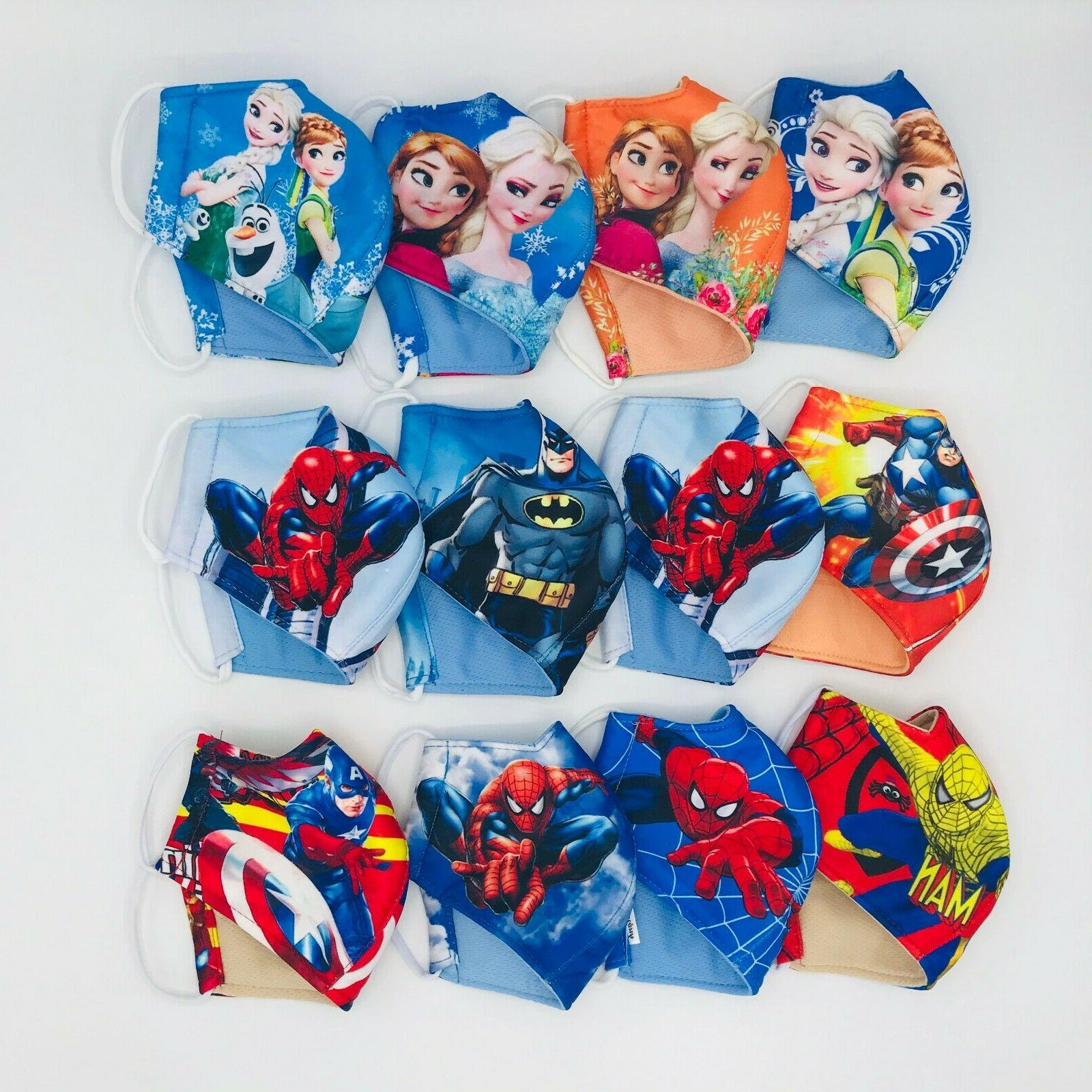 2 PACK Mask, HERO/PRINCESS to 10 Polyester Fabric 3-Fly Washable