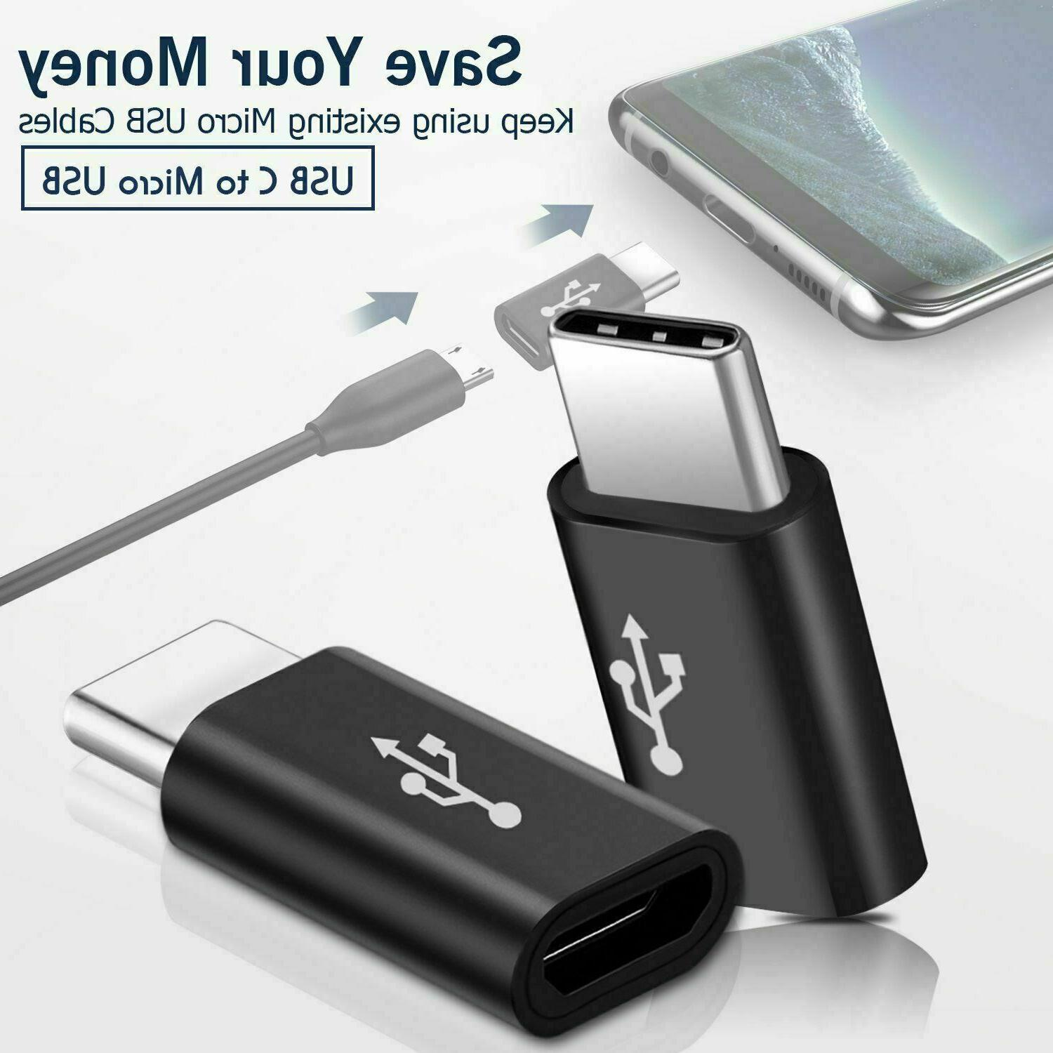 2 Pack Micro USB to Type C Converter to Connector USA