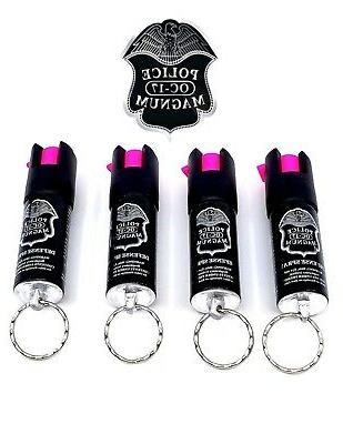 4 PACK Magnum pepper 1/2oz Keyring Defense Security Protection