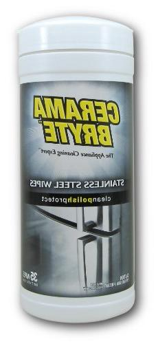 Cerama Bryte Stainless Steel Cleaning Polish -  35 Wipes