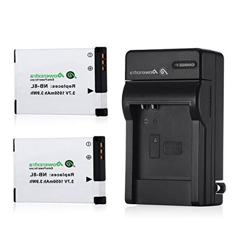 Powerextra 2 Pack Replacement Canon NB-8L Battery and charge