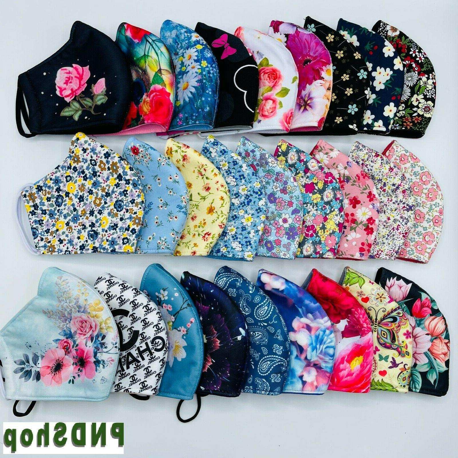 cloth face mask 2 pack flowers cotton