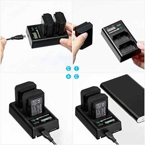 Powerextra 2 Pack Sony Battery and Smart Dual LCD Alpha 9, A9, Alpha 9R, Alpha A7RIII, A7R3 Camera