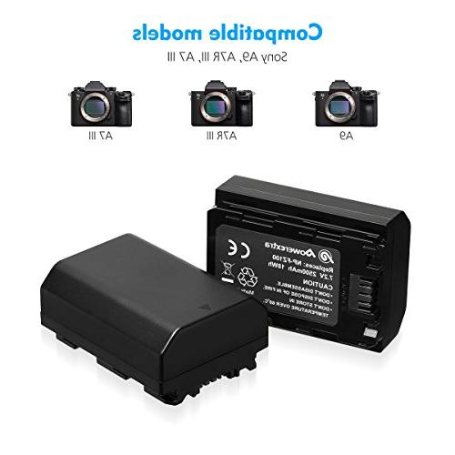 Powerextra 2 Replacement Sony Battery and LCD Alpha 9R, Alpha A7RIII,